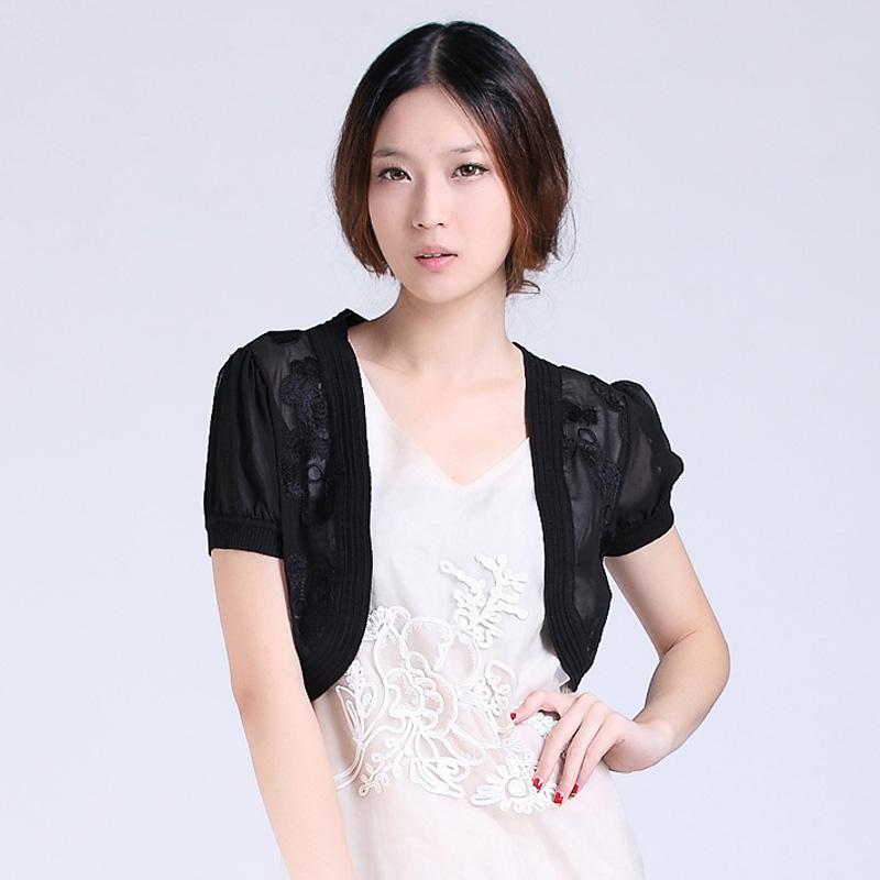 2014夏装新款韩版雪纺绣花小披肩夏季短外套女百搭薄款短袖小坎肩