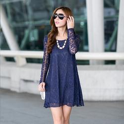 秋装肥婆姐妈妈加肥超大码长袖蕾丝雪纺衫显瘦胖MM韩版女装连衣裙