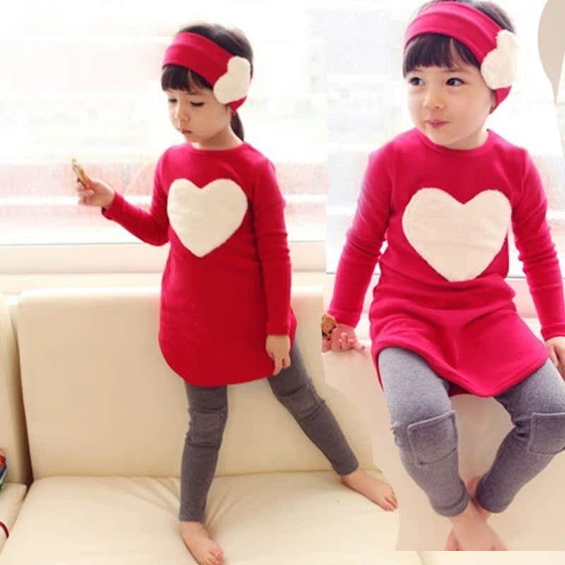 童装套装女童2013秋新款儿童衣服长袖连衣裙子+打底裤+发夹童套装