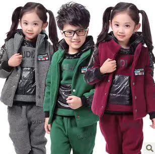 冬季童装 儿童套装男童女童2013新款加绒加厚卫衣运动服装三件套