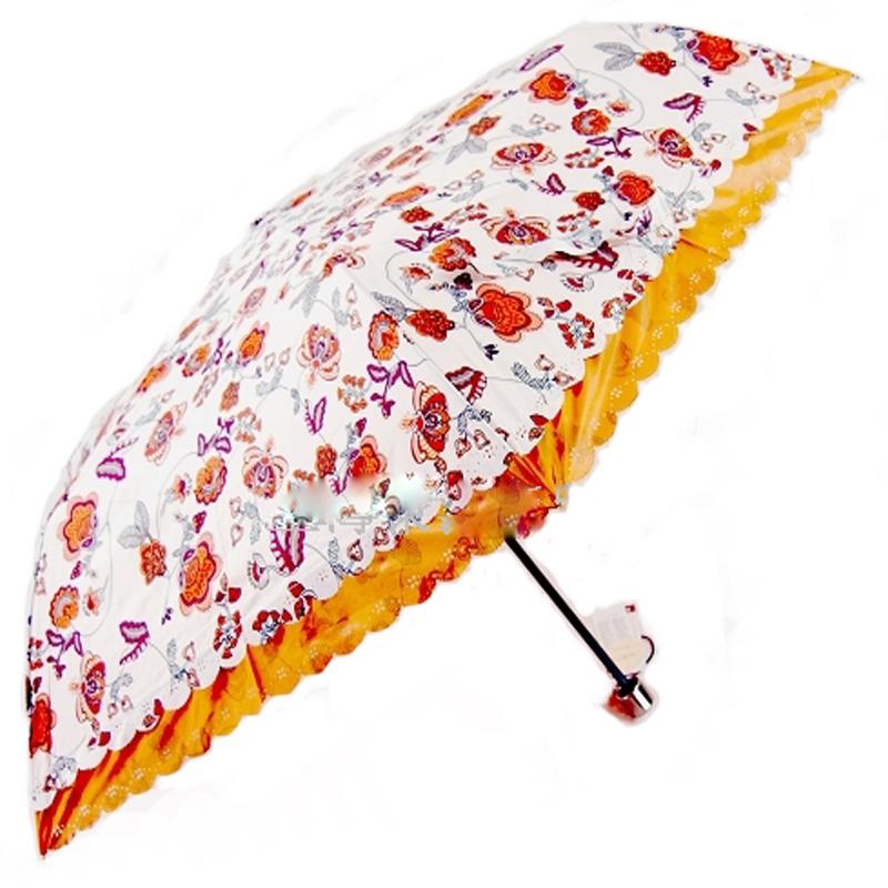 包邮太阳城洋伞铅笔伞超强防紫外线三折超轻细花蝴蝶双溪伞超淑女