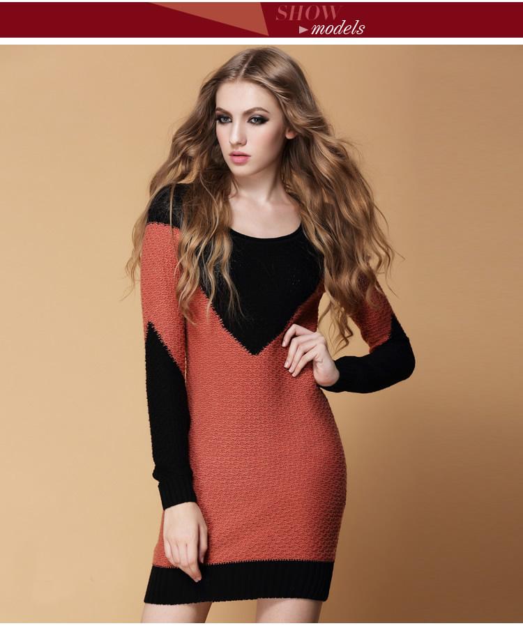 秋冬女士中长款马甲样拼色羊绒圆领修身羊毛衫打底衫