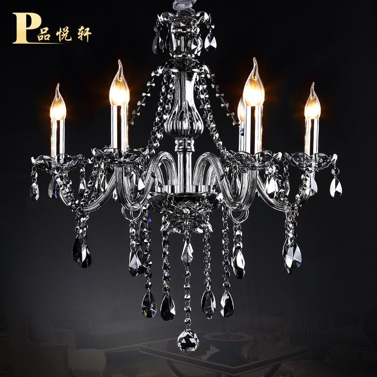 奢华欧式进口水晶吊灯客厅卧室水晶灯饰餐厅烟灰色蜡烛水晶灯6头