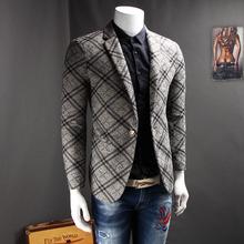 英伦风男式西服格子灰色百搭款便服小西装2017春装新款休闲外套男