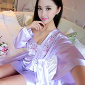 吊带睡裙浴袍薄款 家居服春秋 睡袍女夏季两件套丝绸性感睡衣长袖