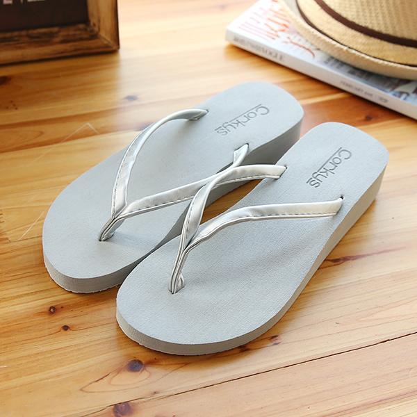 拖鞋女夏时尚外穿厚底沙滩拖鞋女平跟韩版学生女鞋夏大码人字拖女