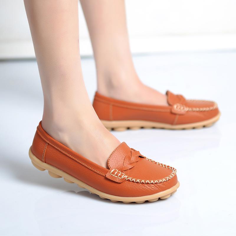 流蘇休閑鞋真皮平底女鞋媽媽單鞋 歐蘭奧瑪