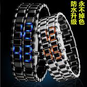 男士手表女韩国时尚潮流熔岩复古表情侣手表一对创意LED个性学生