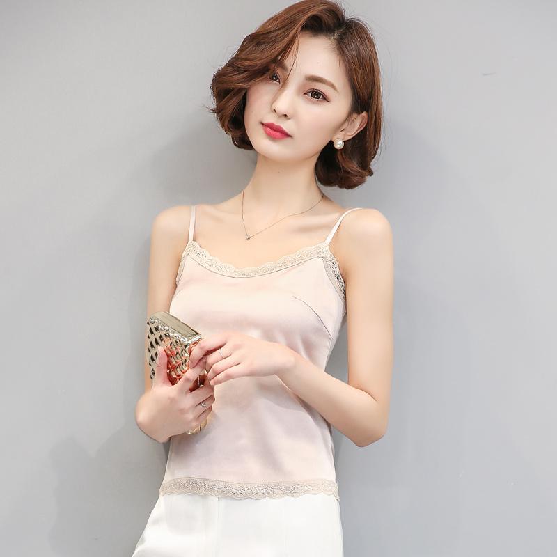 2017秋季新款韩版女装吊带背心女蕾丝打底衫大码女装短款修身真丝