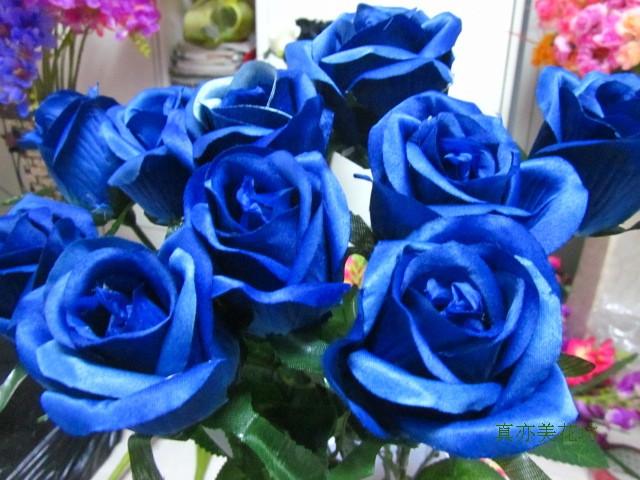 节日/情人浪漫礼物永不凋谢的玫瑰/仿真玫瑰娟花-蓝色妖姬仿真花