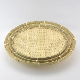 竹编水果盘 竹篓 干果盘 竹簸箕 竹扁长方椭圆形竹编筐点心面包篮