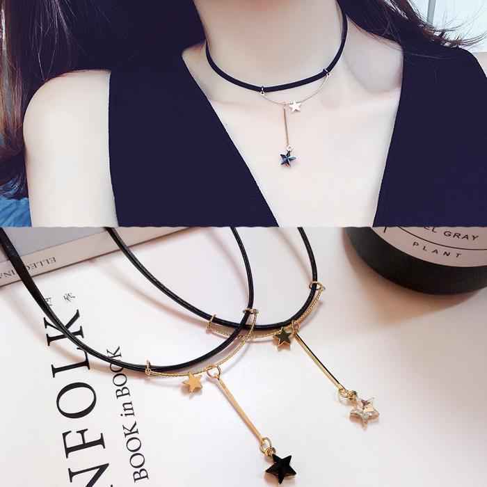 颈链 锁骨首饰 运气韩国水晶十字架项链五角星星