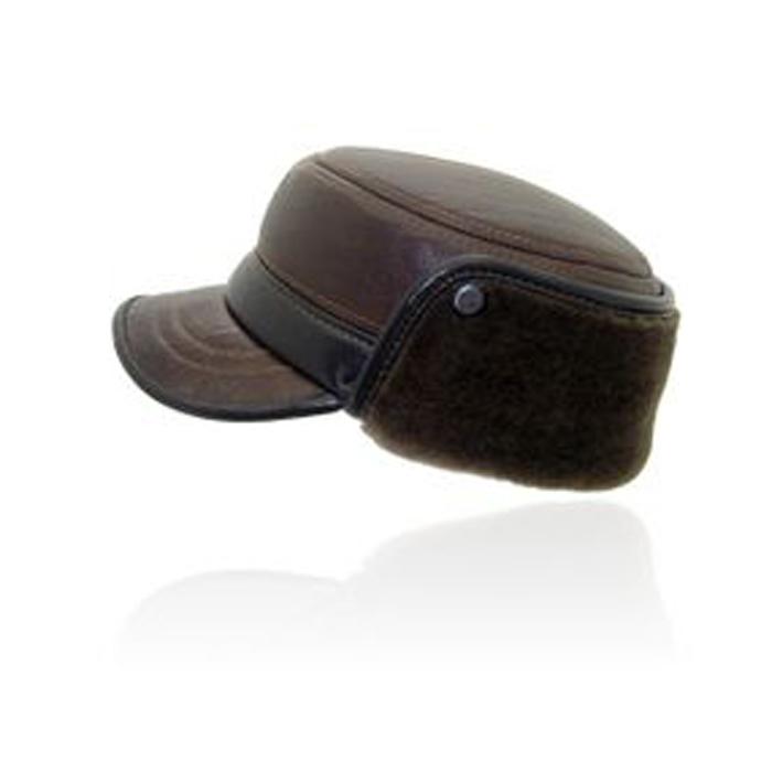 南默羊皮平顶帽男士皮帽子冬季加厚真皮帽子男中老年帽子护耳男帽