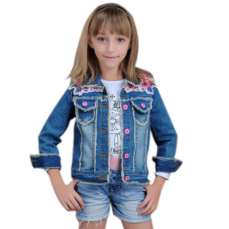 儿童时尚单排外套小孩牛仔衣绣花春装女童