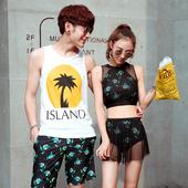 情侣泳衣三件套钢托小胸聚拢男士沙滩裤套装2016新款韩国温泉泳衣