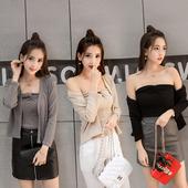 上衣 短外套针织衫 针织开衫 短款 裹胸两件套抹胸长袖 韩国chic风女装