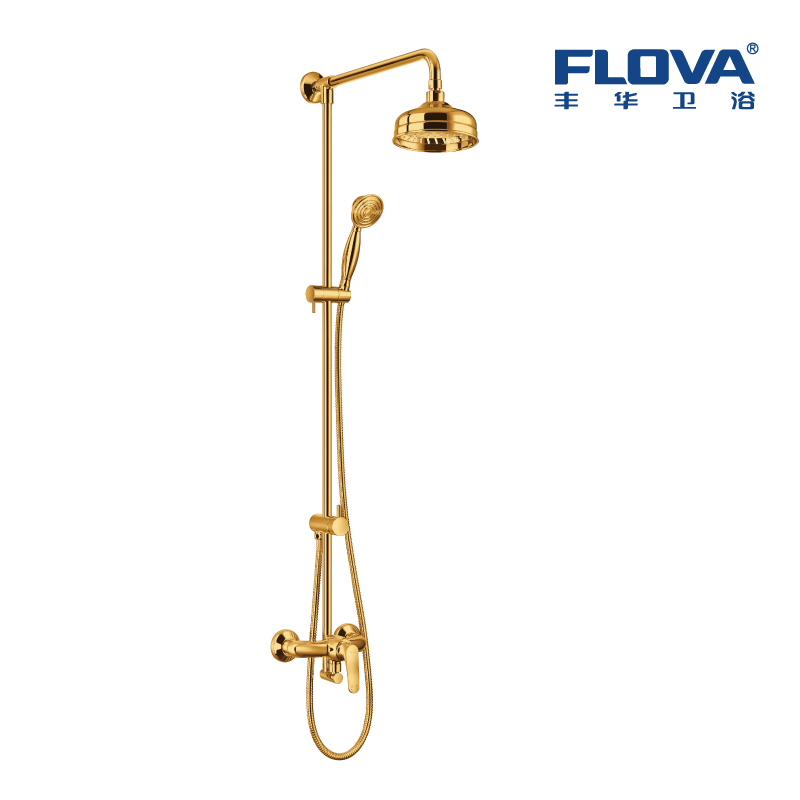 丰华 全铜 冷热水 仿古镀金色 花洒淋浴套装水龙头 FH8462-D77-PZ
