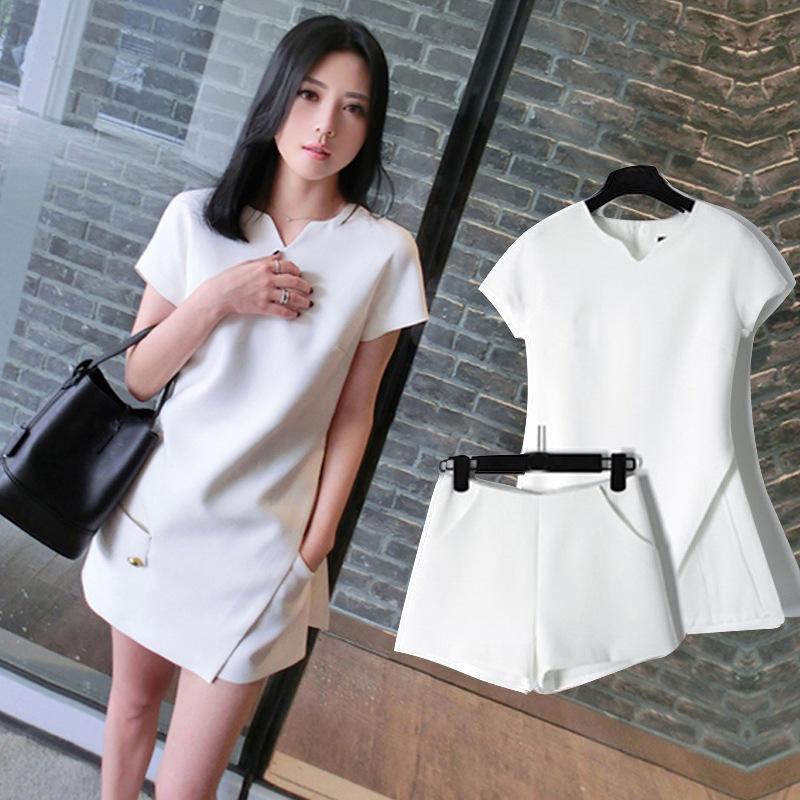 不规则款春夏名媛时尚套装明星两件套气质白色