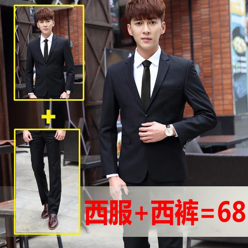 西服套装男士三件青年商务正装职业韩版修身秋冬季伴新郎结婚礼服