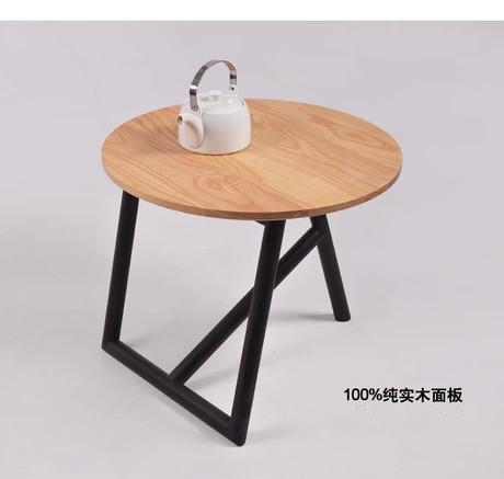 美式乡村铁艺实木小茶几田园风格圆形茶几设计师家具