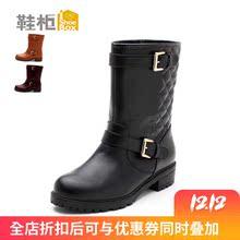 饰女靴清仓 粗跟欧美时尚 皮带扣装 柜品牌正品 达芙妮旗下SHOEBOX