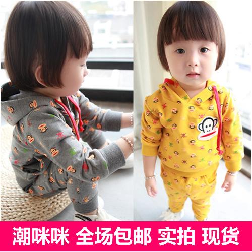 【潮咪咪baby】0-3岁小童套装 大嘴猴骷髅运动休闲套装 卫衣套装
