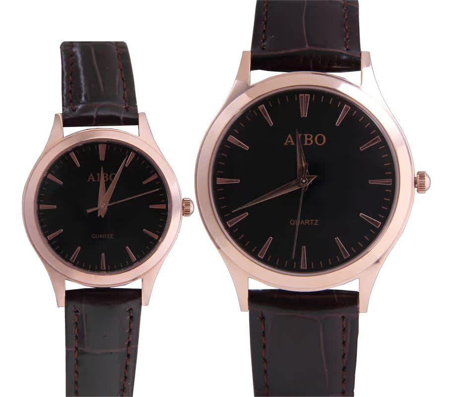 正品牌爱波AIBO手表复古时尚精钢商务经典表男女表石英表情侣表