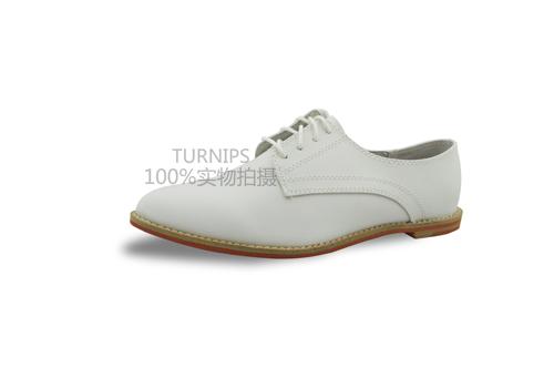 2013新款英伦风简约学院风白色尖头系带女鞋 单鞋 平底鞋 女单