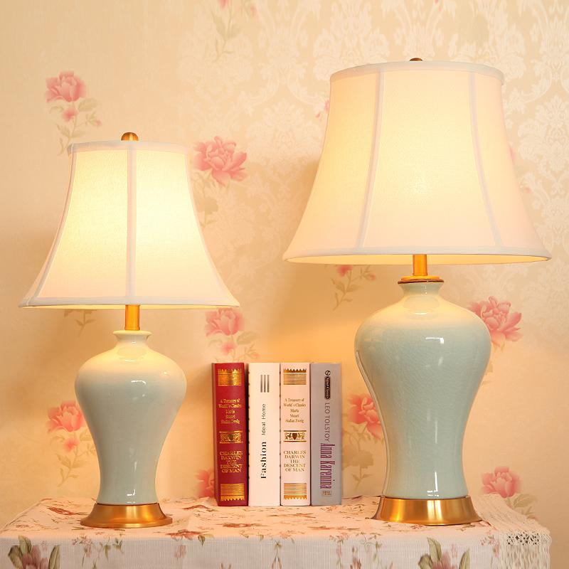 现代新中式美式简约欧式全铜陶瓷台灯客厅卧室床头灯