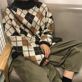 OTZ蚂蚁家 韩国冬季复古半高领撞色菱形格子宽松套头保暖长袖毛衣