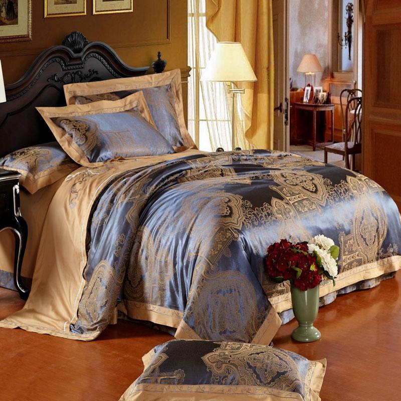 忆满庭家纺 欧式贡缎提花四件套 优卡丝婚庆四件套 床上用品