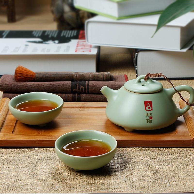 正品汝窑茶具套装特价 友尚陶瓷办公功夫茶具 二人世界一壶二杯