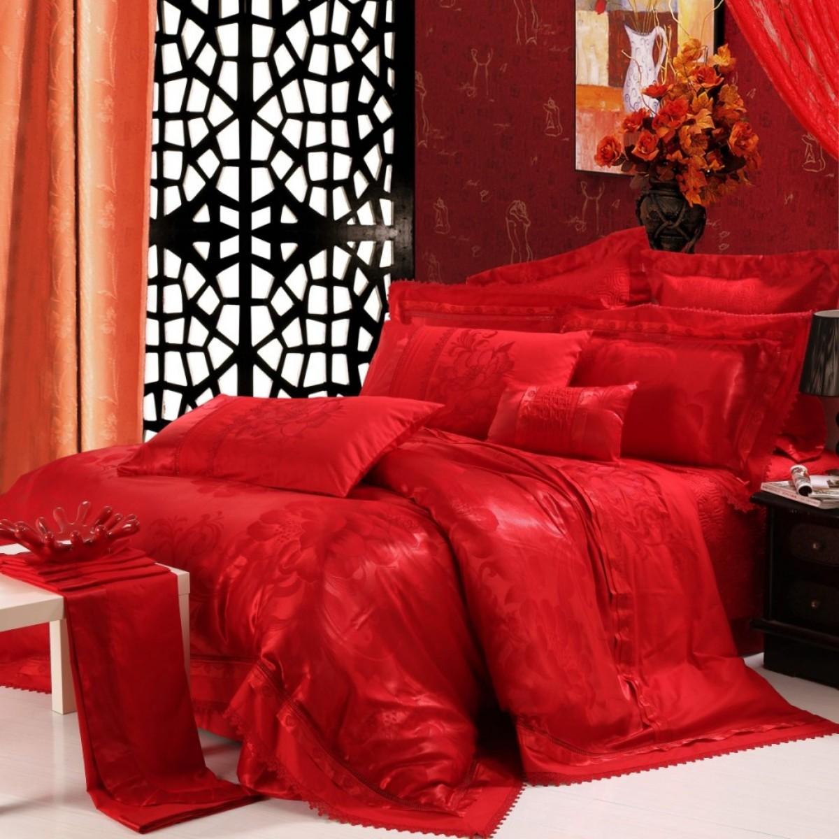 水星家纺婚庆大提花十件套结婚 纯棉绣花多件套红色床上用品包邮