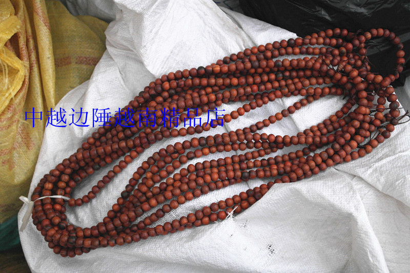 红木工艺品 老挝红酸枝佛珠手串1.2*108颗 原木无漆无蜡 交趾黄檀