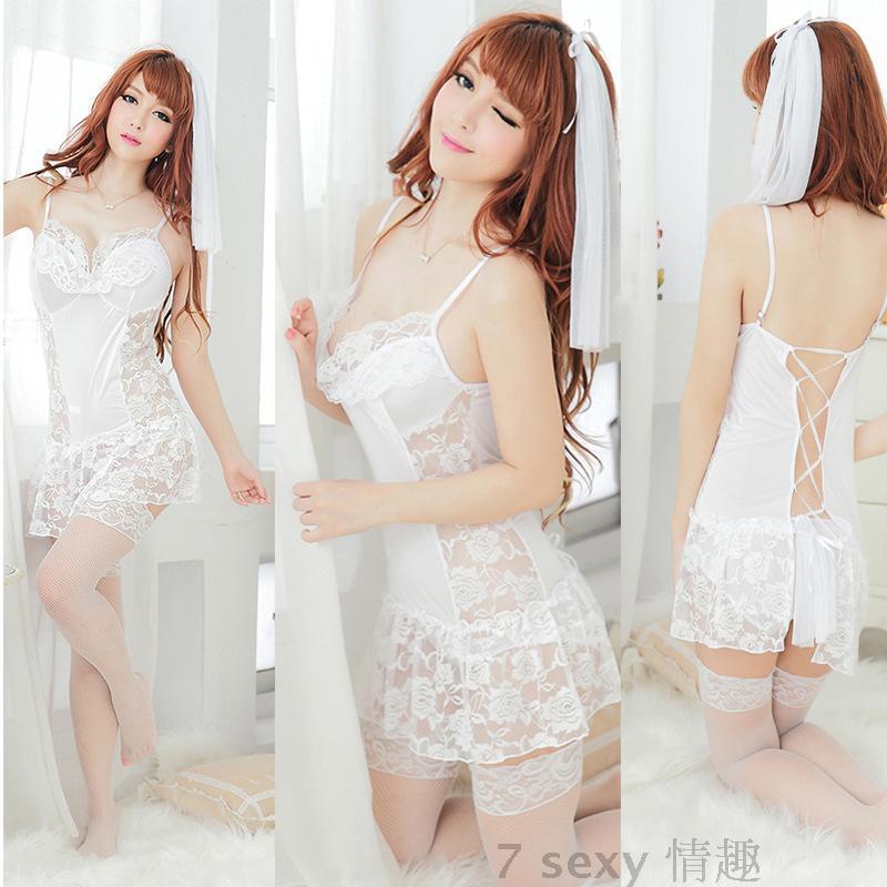 情趣内衣性感 蕾丝透明网纱丝袜紧身可爱公主诱惑白裙子