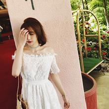 一字领蕾丝连衣裙张佐佐2017夏装新款甜美百搭修身白色露肩裙子女