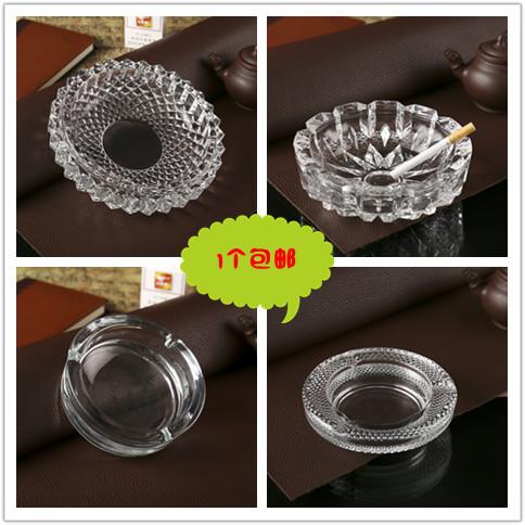 时尚精致大号玻璃烟灰缸装饰烟缸透明加厚家用KTV创意烟灰缸 包邮