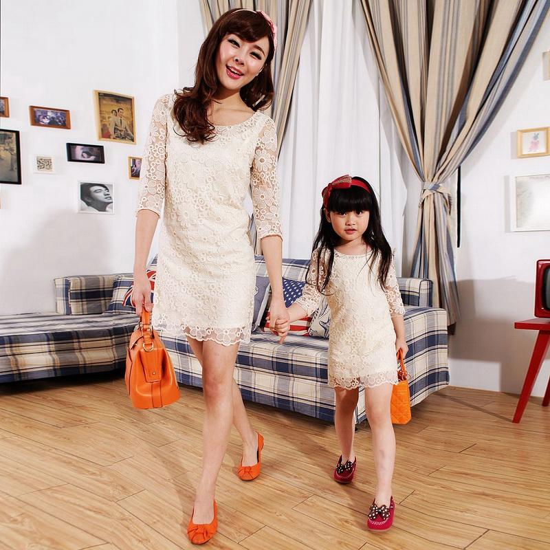 2014春装新款韩版可琳菲儿蕾丝爆款中袖修身 亲子装 母女装连衣群