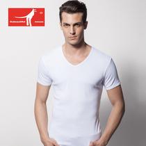 包邮 喜路袋鼠莫代尔男士休闲T恤大码宽松V领短袖冬季打底汗衫