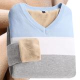 秋冬季v领针织衫男士毛衣男韩版长袖套头加绒加厚线衣保暖打底衫