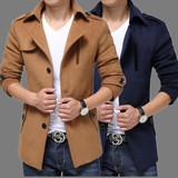 花花公子毛呢大衣男短款风衣韩版男装加羊绒修身呢子外套大码衣服