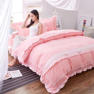 韩版全棉蕾丝公主风四件套1.5m/1.8米床裙式床单被套纯色床上用品