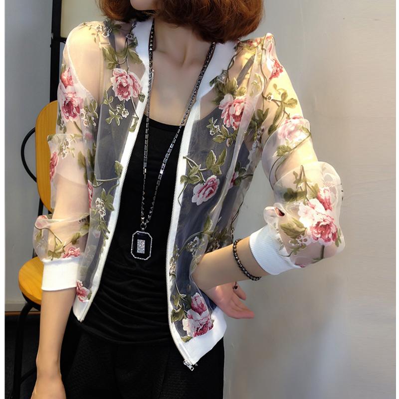 长袖薄款欧根纱外套夏季防晒风衣开衫印花外衣