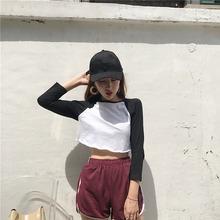 新款韩版黑白拼色插肩袖短款T恤上衣+松紧腰基础款休闲短裤套装女