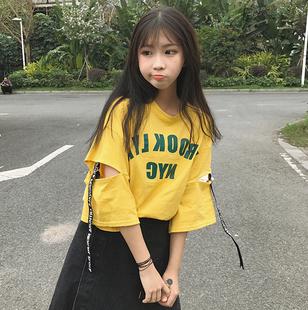 春夏女装2017韩版原宿学院风五分袖宽松短袖T恤中袖镂空学生上衣