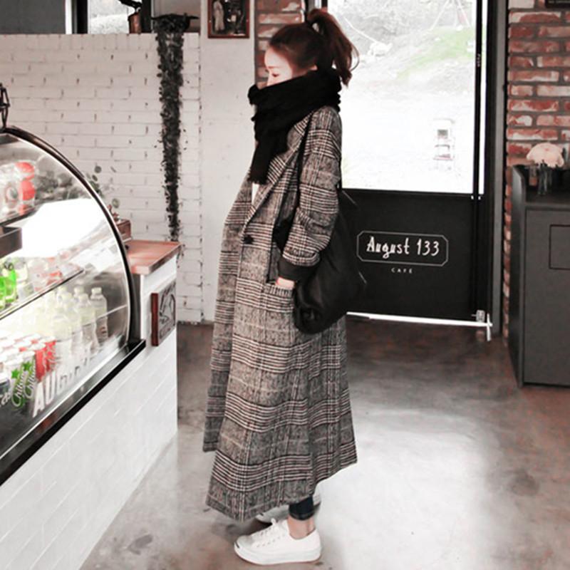 天天特价女装格子毛呢外套冬修身显瘦长款加厚茧型千鸟格呢子大衣