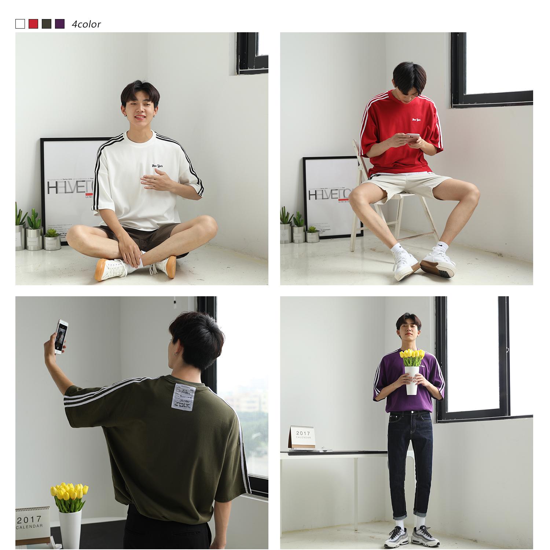 大赖自制 短袖T恤男 夏季韩版潮流学生宽松圆领三条杠半袖体恤男