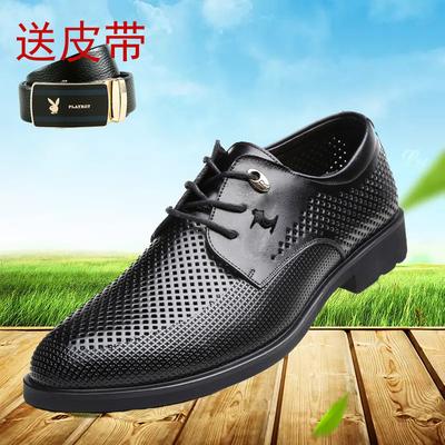 啄木鸟男鞋夏季真皮洞洞鞋商务正装皮鞋男士透气镂空休闲皮凉鞋子