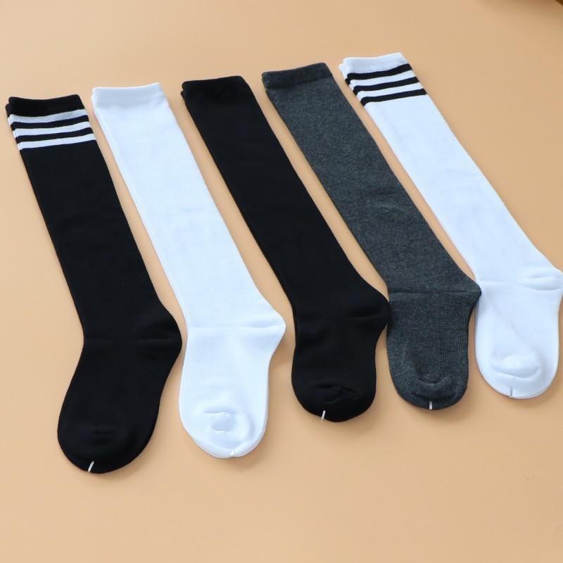 儿童长筒袜子纯棉春秋学生运动袜黑白色中筒腿袜男女童过膝袜高筒