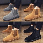 雪地靴男冬季保暖棉靴韩版短靴英伦马丁靴加绒棉鞋切尔西靴男皮靴